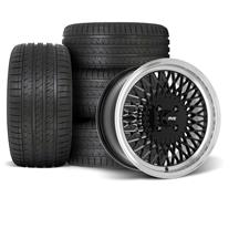 Mustang SVE Mesh Wheel & Tire Kit - 17x8  - Gloss Black - HTR Z5 Tires (79-93)