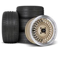 Mustang SVE Mesh Wheel & Tire Kit - 17x8/9  - Classic Gold - HTR Z5 Tires (79-93)