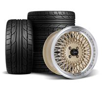 Mustang SVE Mesh Wheel & Tire Kit - 17x8/9  - Classic Gold - NT555 G2 Tires (79-93)