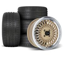 Mustang SVE Mesh Wheel & Tire Kit - 17x8  - Classic Gold - HTR Z5 Tires (79-93)