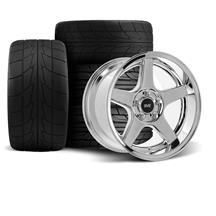 Mustang SVE 2003 Cobra Style Wheel & Tire Kit - 17x9/10.5  - Chrome - Deep Dish - NT555R (94-04)