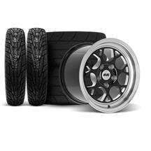 SVE Mustang Drag Comp Wheel & Tire Kit - 17x4.5/15x10  - Gloss Black - M/T Tires (94-04)