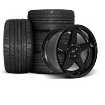 Mustang SVE 2003 Cobra Style Wheel & Tire Kit - 17x9/10.5  - Black - Deep Dish (94-04)