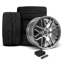 Mustang Downforce Wheel & Tire Kit - 20x8.5/10  - Gloss Graphite - Invo Tires (05-14)