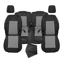 Mustang Katzkin GT/CS Style Leather Seat Upholstery - W/ Side-Impact Airbag - Black/Light Graphi...