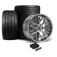 Mustang Downforce Wheel & Tire Kit - 20x8.5/10  - Gloss Graphite - NT555 G2 Tires (05-14)