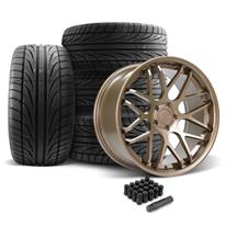 Mustang Downforce Wheel & Tire Kit - 20x8.5/10  - Satin Bronze - Ohtsu Tires (05-14)