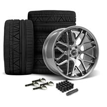 Mustang Downforce Wheel & Tire Kit - 20x8.5/10  - Gloss Graphite - Invo Tires (15-19)