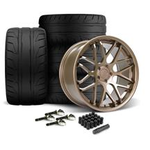 Mustang Downforce Wheel & Tire Kit - 20x8.5/10  - Satin Bronze - NT05 Tires (15-19)