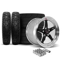 Mustang Weld RT-S S71 Wheel & Tire Kit Fits Baer Brakes  - 17x5/15x9 Black w/ Polished Lip (15-1...