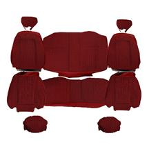 Mustang TMI Cloth Seat Upholstery - Sport Seats  - Scarlet Red (90-91) Coupe