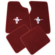 Mustang Floor Mats w/ Pony Logo Canyon Red  (84-86)