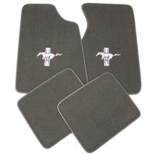 Mustang Floor Mats w/ Tri Bar Pony Logo Smoke Gray (84-89)