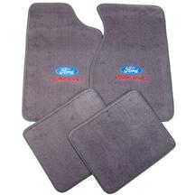 Mustang Floor Mats w/ Ford Racing Logo Dark Smoke Gray (84-89)