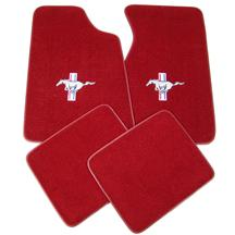 Mustang Floor Mats w/ Tri-Bar Pony Logo  - Medium/Scarlet Red  (82-92)