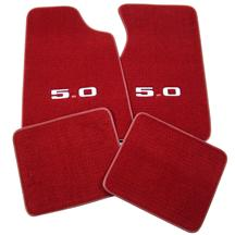 ACC Mustang Floor Mats w/ 5.0 Logo -  Medium/Scarlet Red  (82-92) FM06PN-815-219