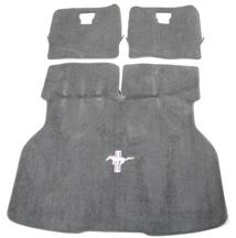 ACC Mustang Hatch Area Carpet with Running Pony Logo Smoke Gray (87-89) 3294-807-110