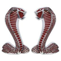 Mustang Cobra Fender Emblem Kit   - Chrome/Red  (94-14)