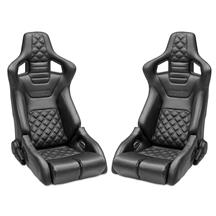 Corbeau RRB Pair - Diamond Pattern  - Black Vinyl w/ Black Stitching