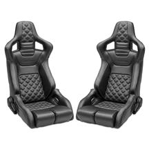 Corbeau  RRB Pair - Diamond Pattern  - Black Vinyl w/ White Stitching