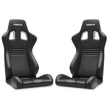 Corbeau Evolution X Seat - Pair Black Vinyl/Carbon w/ Black Stitch