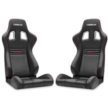 Mustang Corbeau Evolution X Seat - Pair Black Vinyl/Carbon w/ Red Stitch