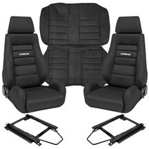 Corbeau Mustang GTS 2 Seat & Rear Upholstery Kit  - Black Microsuede (79-93) Coupe