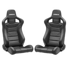 Corbeau Sportline RRS Racing Seat Pair  - Black Leather 399560