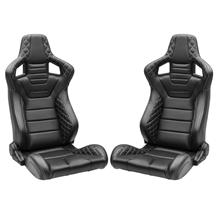 Corbeau Sportline RRS Racing Seat Pair  - Black Vinyl Diamond/White Stitching