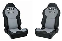 Mustang Corbeau VX2000 Seat Pair Black Vinyl/Gray Cloth Inserts