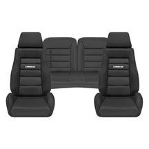 Mustang Corbeau GTS 2 Seat & Rear Upholstery Kit  - Black Cloth (79-93) Convertible