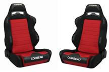 Mustang Corbeau LG1 Seat Pair Black Cloth/Red Cloth Insert