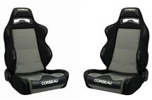 Mustang Corbeau LG1 Wide Seat Pair Black Cloth/Gray Cloth Insert