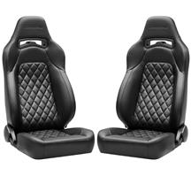 Corbeau Trailcat Seat Pair - Diamond Pattern  - Black Vinyl w/ Black Stitching