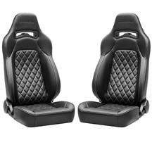 Corbeau Trailcat Seat Pair - Diamond Pattern  - Black Vinyl w/ White Stitching