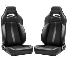 Corbeau Trailcat Seat Pair  - Black Vinyl/Cloth w/ Black Stitching