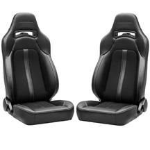 Corbeau Trailcat Seat Pair  - Black Vinyl/Cloth w/ White Stitching
