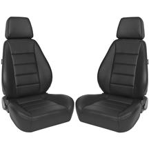 Corbeau Sport Seat Pair  - Black Leather