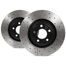 Mustang DBA Street Series Cross Drilled/Slotted Front Rotor Kit (15-17)