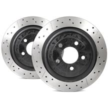 Mustang DBA Street Series Cross Drilled/Slotted Rear Rotor Kit (15-17)