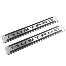 Mustang DefenderWorx Two Tone Door Sill Plates  - Brushed (15-17)