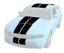 Mustang Lemans Stripes (Hood Scoop)  - Gloss Black (10-12)