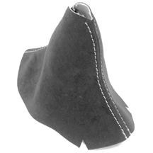 Mustang JPM Coachworks Alcantara Shift Boot - Manual  - Charcoal w/ Silver Stitching (15-17)