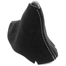 Mustang JPM Coachworks Alcantara Shift Boot - Manual  - Black w/ Silver Stitching (15-17)