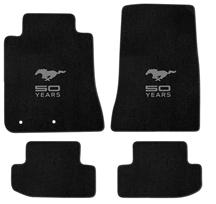 Mustang Lloyd Floor Mats - 50 Years Logo Black (15-17)
