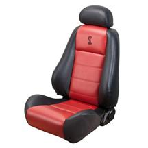 Mustang Cobra Coupe Leather Seat Upholstery with Red Leather Inserts (03-04)