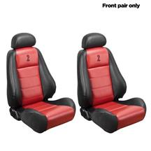 Mustang TMI 10th Anniversary Cobra Front Seat Upholstery  - Vinyl - Red Inserts (03-04)