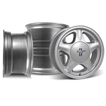 Mustang Pony Wheel & Ford Licensed Center Cap Kit - 16x7 Silver (79-93)