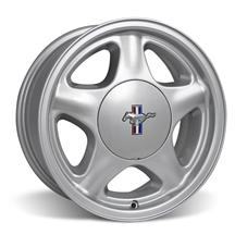 Mustang 5 Lug Pony Wheel & Ford Licensed Center Cap - 17x9 Silver (79-93)