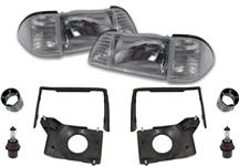 Mustang Deluxe Headlight Kit with Clear Sidemarkers (87-93)